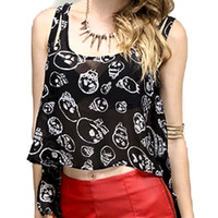 Black & White Mad Sad & Glad Skulls Sleeveless Top Shirt