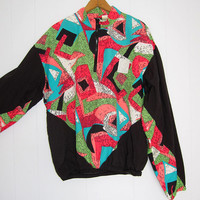 Vintage 90s Windbreaker Track Jacket Warm Up Pullover Neon Nylon Medium