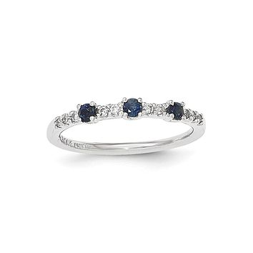 14K White Gold Real Diamond and Sapphire 3-Stone Ring