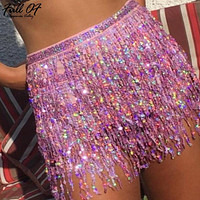 Befree Tassel fringe sequin women skirt Summer style beach short mini skirt Female sexy party high waist bandage skirt bottom HL