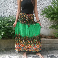 Green Maxi Skirt & Halter Bandeau Sundress Gypsy Dress Hippie Exotic Clothing Ethnic Boho Aztec For Beach Summer Cloth Bikini Cover Up Women