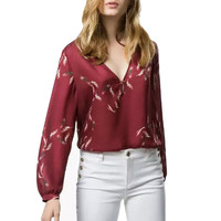 Red Feather Print Long Sleeve Deep V-Neck Blouse