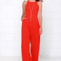 Shoot for the Sky Coral Red Jumpsuit