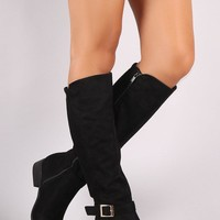 Suede Ribbed Back Riding Boots