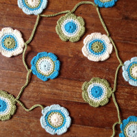 Hand Crochet Garland Small Doily Decoration, 16 Nature Flower Doily Bunting Banner in Green, Bright Teal, Aqua and Cream