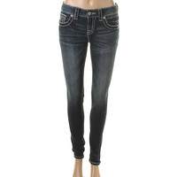 Miss Me Womens Mid-Rise Embroidered Skinny Jeans