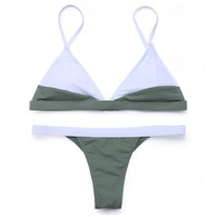 Two Tone Triangle Brazilian Bikini Set