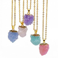 New Quartz Crystal Pendant Gold Chains Resin Necklace Natural Druzy Stone Pendants Summer Necklace Jewelry