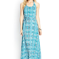 LOVE 21 Abstract Woven Halter Maxi Teal/Lavender
