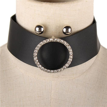 """12"""" clear crystal oval faux leather collar choker necklace earrings 1.60"""" wide"""