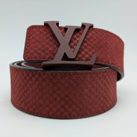 Authentic Louis Vuitton LV Initiales 40MM Carmine Suede Belt 90cm/36 inches Tagre™