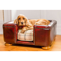 Traditional Leather Tetford Square Chesterfield Dog Bed