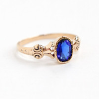 Antique Victorian 9k Rose Gold Simulated Sapphire Ring - Size 6 1/4 Late 1800s Swirled Filigree Fine Blue Faceted Glass Jewelry