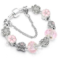 Star of David Murano Crystal Beads Pandora Bracelet