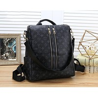 LV Louis Vuitton Trending Men Women Leather Zipper Daypack Travel Bag School Bag Backpack