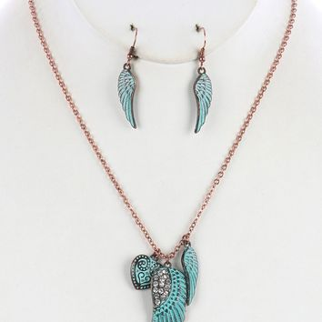 """12"""" crystal wing heart charm necklace 1.10"""" earrings"""