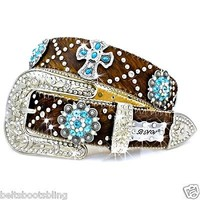 BHW Cowgirl Western Brown Brindle Turquoise Berry Cross Concho Rhinestone Belt