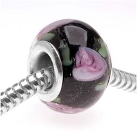 Beadaholique 14mm Round Murano Style Glass Lamp work Bead, Fits Pandora, Black with Rose