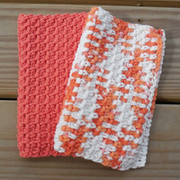 Crochet Dishcloth or Washcloth, Poppy and Variegated 100% Cotton Clothes, Eco-friendly