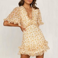 Boho High Waist Short Sleeve Frilled Mini Summer Dress