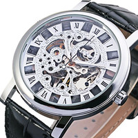GuTe Dress Mens Silver Skeleton Mechanical Wristwatch Hand-wind Steampunk See-through