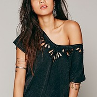 Free People Womens Cutwork Double V Tee
