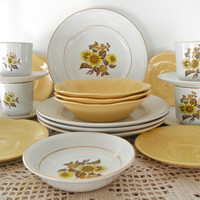 Vintage Yellow Johnson Brothers 20 Piece Made in England Goldendawn And Sunflower Plates Collection Dinnerware French Country Home Decor