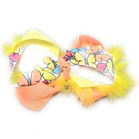 Girls Flamboyant Marabou Twist Hair Bow