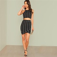 BLACK & WHITE PLAID WRAP RIGHT SET