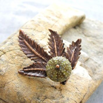 Sea Urchin Collection  Green Leaves Brooch by staroftheeast