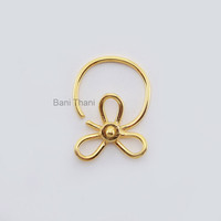 Flower Gold Plated 925 Sterling Silver Nose Ring Jewelry, Indian Nose Ring, Nose Hoop, Tribal Septum, Septum Jewelry - #6700