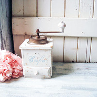 Farmhouse Vintage Coffee Grinder, White Wooden Coffee Mill Shabby Chic Manual Coffee Grinder Small Rustic White Coffee Grinder, Gift Ideas