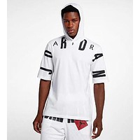 JORDAN Summer Fashionable Men Casual Print Short Sleeve Hoodie Top T-Shirt White