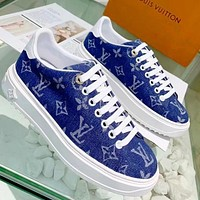LV Shoes Louis Vuitton Sneakers Flat Shoes Canvas cowboy blue