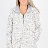 Frosted Sherpa Quarter Zip Pullover {Snow}