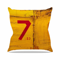 "Steve Dix ""7S3"" Yellow Painting Throw Pillow"
