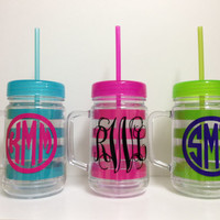Personalized Acrylic Mason Jar cup tumbler 22 oz. with lid and straw stripe anchor monogram