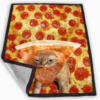 Pizza Cat Because Cat Love Pizza Blanket for Kids Blanket, Fleece Blanket Cute and Awesome Blanket for your bedding, Blanket fleece **