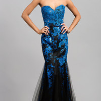 Floor Length Strapless Sweetheart Lace Dress