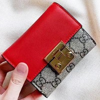 GUCCI New fashion more letter leather wallet women purse clutch bag Red