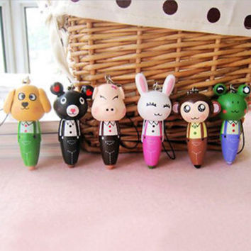 Hot Cute Ballpoint pen Dog Pig Rabbit Monkey Telescopic Ballpen office school supplies kids gift