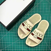 Gucci Leather Slide With Bow #4 Sandals - Best Online Sale