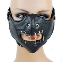 Hannibal Lector Black Leather wired mouth Horror Mask Protective Gear Gothic