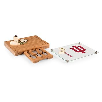 Indiana Hoosiers - Concerto Glass Top Cheese Cutting Board & Tools Set, (Bamboo)