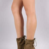 Suede Drawstring Chunky Heeled Booties
