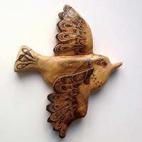 Bird Wall Hanging with Pyrography (Wood burning) Carving in Beech, UK. Wall art, wren, wood carving, bird ornament, childrens room art