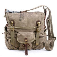 Rugged canvas cross-body bags in military green from Vintage rugged canvas bags