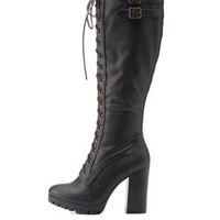Black Lace-Up Knee High Chunky Heel Boots by Charlotte Russe