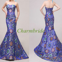 mermaid satin evening dresses / vintage slim wedding gowns / unique simple dress for prom / China style bridal dresses