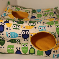 Large Cube Hidey Rat Hammock Ferret Guinea Pig Hamster Pick Your Fabric Fleece Sewn Hammock Small Pets Pet Green Blue Yellow Owls Birds